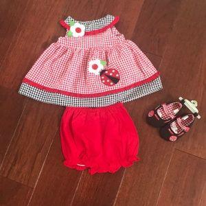 Adorable baby girls ladybug outfit